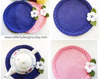 Handmade Mat with Cable feature in a Cotton blend, Made-to-order in your choice of colours