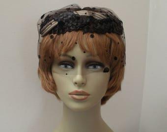 Vintage Black & Tan Gray Straw Halo Hat with Veil