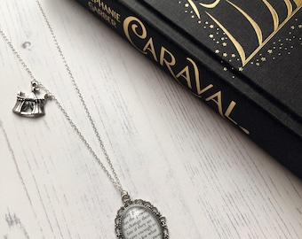Caraval Inspired Quote Pendant Necklace & Circus Tent Charm - Sterling Silver Chain