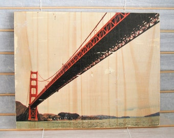 "Sailor's View: Golden Gate Bridge - 8""x10"" Distressed Photo Transfer on Wood"