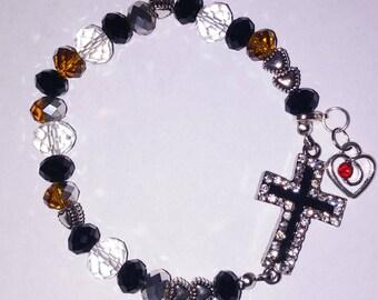 Religious Christian Jewelry Cross Heart Bracelet Religious Jewelry Christian Bling BR24