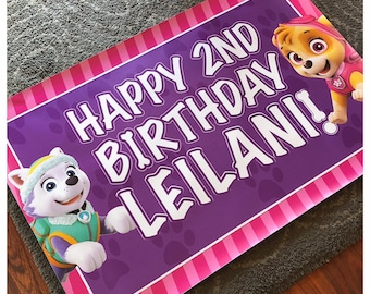 Paw Patrol Skye and Everest Happy Birthday Vinyl Banner with Grommets