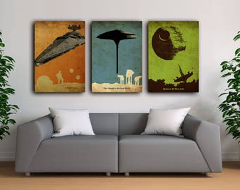 Star wars vintage poster set, New hope poster, Return of the jedi poster, Empire strikes back poster, AT-AT walkers poster, Death Star art