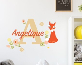 Curious Fox | Custom Personalised Name Initial Animals Cute Nursery Kids Bedroom Playroom Decal | Removable Vinyl Wall Sticker