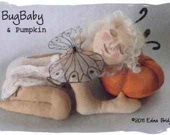 Primitive Folk Art Doll BugBaby and Pumpkin PDF Instant Download Epattern