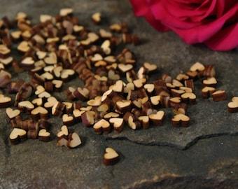 Tiny Wood Heart Confetti, Tiny Wood Hearts, Heart Confetti, Tiny Heart Cutouts, Approx. 200 pcs.