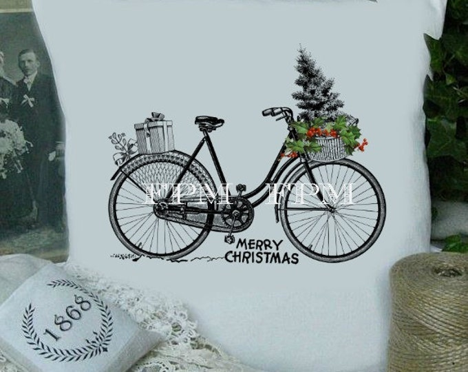 Digital Christmas Bike, Vintage Christmas Bike Download, Christmas Image Transfer, Iron on fabric