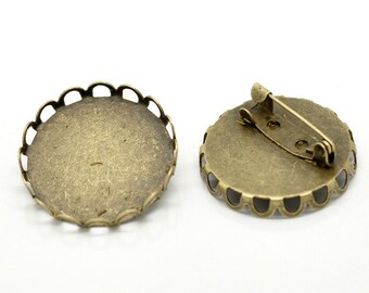 "10 Bronze Metal Pins, brooch pins, fits 25mm (1"") round cabochons,filigree bezel tray, pin backs, fin0497"