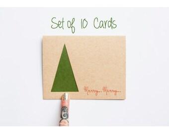 Minimal Christmas Tree Card Set: laser cut Christmas Card Set of 10--Merry Minimalist Christmas Cards