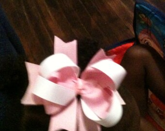 Pink and white hair bow, hair clip, boutique bow