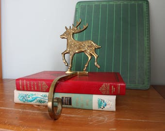 Solid Brass Deer Stocking Hangers, 1 lb 2.9 oz, 6 Inches Tall, Hanger 7.25 Inches Long, Made in China