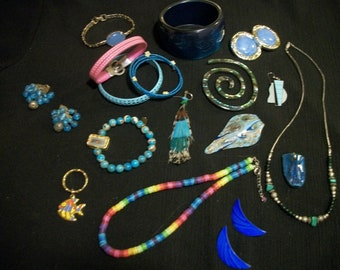 Retro 80s 90s Does BOHO HIPPIE COSPLAY Festival  A Touch of Blue Jewelry Lot, To Wear, Share, Remake, Resell, 17 Items
