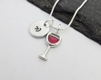 Wine Necklace, Wine Glass Necklace, Initial Necklace, Charm Necklace, Drink Necklace, Wine Jewellery, Wine Gift, Red Wine, Wine Lover Gift