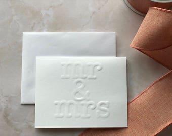 Embossed wedding card (mr & mrs)
