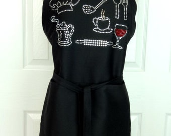 Black One Size Up To 3X Cooks Apron Hand Embellished All Rhinestone Chef Hat, Spatula, Rolling Pin, Utensils, Etc.