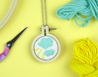 HAND EMBROIDERED PENDANT, cloud, mini hoop