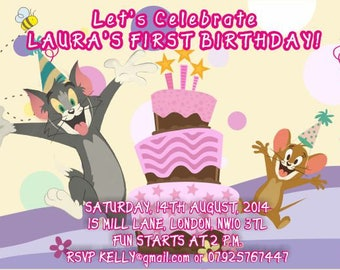 Downloadable/Printable Personalised Tom and Jerry children Birthday Party Invitation