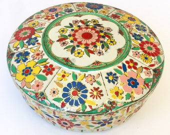 Vintage Bright Flower Tin from Holland