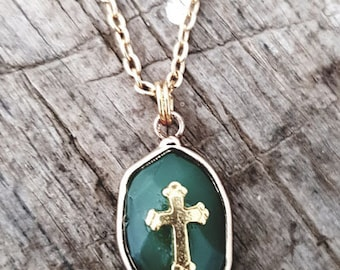 Cross Gold Green Onyx stone necklace