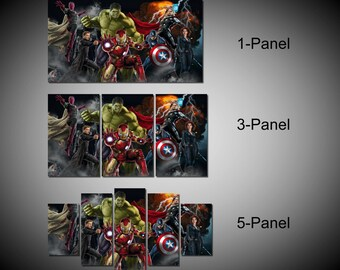 Framed Marvel Avengers Age of ultron Super Hero, Captain America, Iron Man, Hulk, Thor, Black Widow, Hawkey Wall Canvas Art - Ready to Hang
