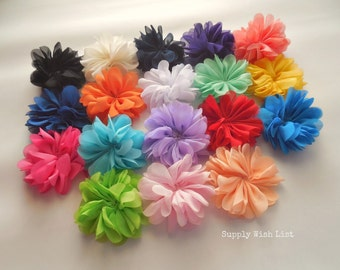 Chiffon flower, Set of 12, 2.5 inch, YOU PICK, scallop flower, DIY hair flower, hair flower, fabric flower, flower for baby headbands