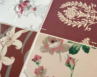 Pack of (4) - Burgundy/Cream Floral Vintage Wallpaper Pack, 11x14 size