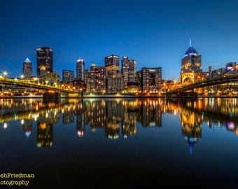 Pittsburgh Skyline and Reflection Photograph Night Andy Warhol Bridge Roberto Clemente Bridge Photography Allegheny River Pennsylvania