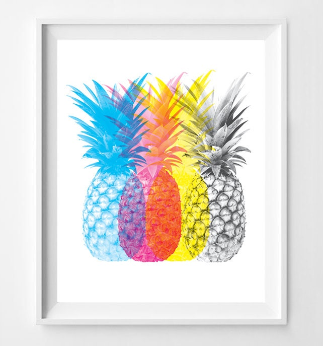 Colorful Kitchen Wall Art: Pineapple Print Pineapple CMYK Pineapple Color