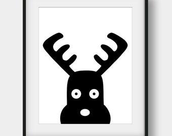60% OFF Moose Print, Printable Nursery Wall Decor, Black and White Art, Scandinavian Print, Nursery Moose Poster, Scandinavian Wall Decor