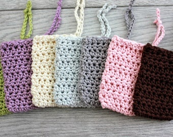 Farmhouse Style Crochet Soap Saver - Soap Sack - Cotton Soap Holder - Soap Saver Bag - Soap Cozy - Soap Bag  with Drawstring - Soap Sock