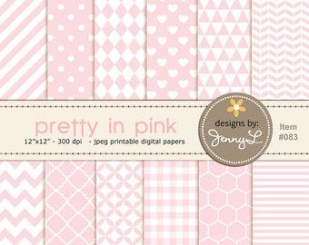 Pink, Light Pink, Pastel Pink Digital Papers, Pink Chevron Papers,  Pink Paper,  Baby Shower, Baby Baptism colors, Nursery Room