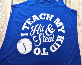 Hit and Steal Baseball, Team Mom Baseball, Baseball Mom, Baseball Shirt, Baseball Tank, Funny Baseball, Tee Ball, Softball, Baseball Tee
