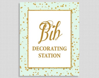 Bib Decorating Station Baby Shower Table Sign, Mint & Gold Glitter Confetti Shower Sign, Neutral Shower Sign, 8x10, INSTANT PRINTABLE