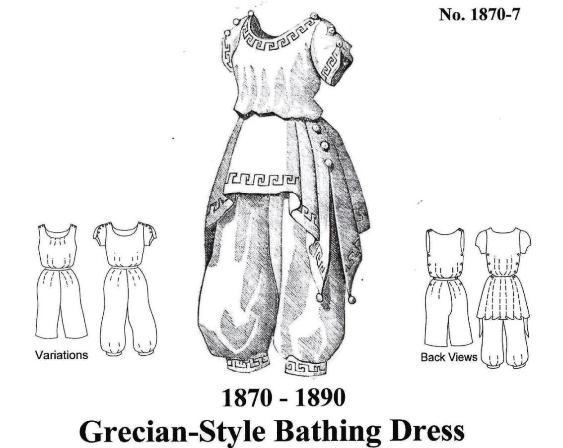 Viktorianischen Badeanzug Muster im griechischen Stil Multi