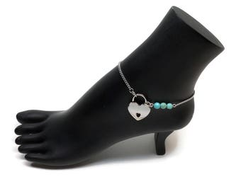 BDSM Locking Anklet, Turquoise Locking Slave anklet, Turquoise Slave Anklet, BDSM Anklet Heart Lock, BDSM Jewelry, Turquoise Delicate Anklet