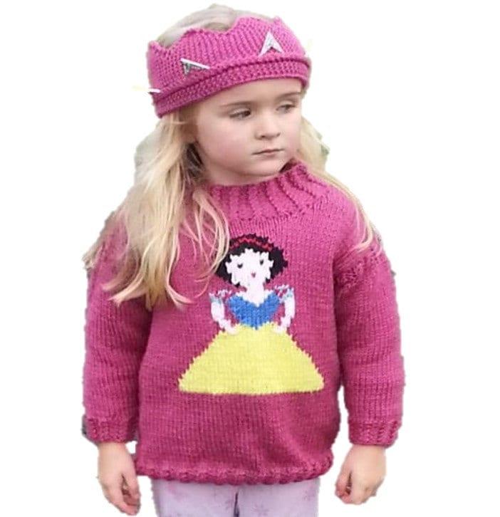 Aran Knitting pattern for girls, Princess sweater and crown, Snow ...