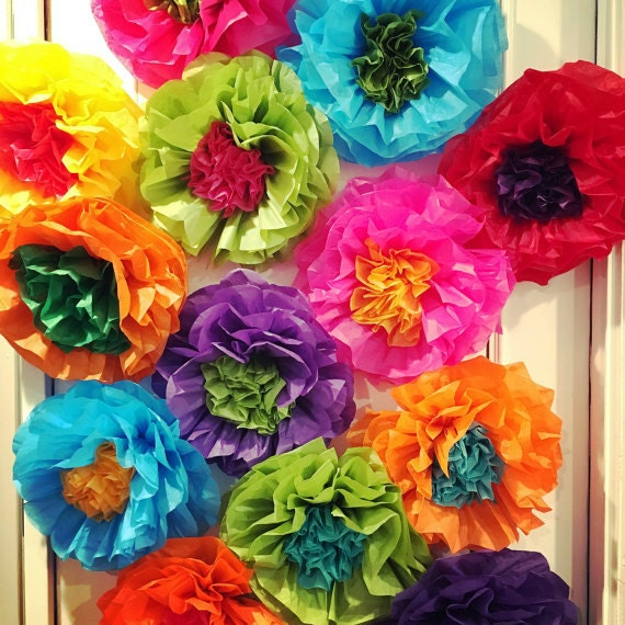 Mexican paper flower demirediffusion mexican tissue paper flowers photo wall wedding fiesta mightylinksfo