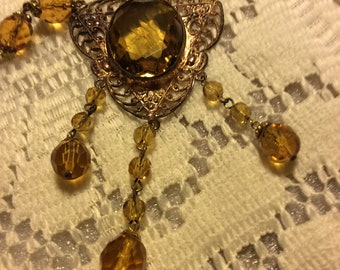 Victorian Amber Flapper Necklace