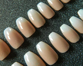 Ombre French Ballerina / Coffin False Nails