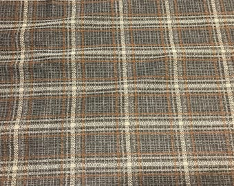3 Yards of Vintage Brown, White and Rust Plaid Double Knit Fabric