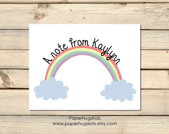 Rainbow Stationery, Personalized Note Cards, Kids Thank You Cards, Personalized Stationery, Kids Note Cards / Digital File