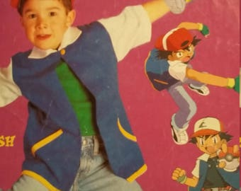 Vintage McCalls Pokemon Costume Sewing Pattern Ash All Sizes included  Cut for largest size