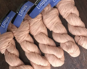 Berroco LINUS Cool Linen Blend Ribbon Yarn +Linus & Kestrel Patterns - 8.50 +1.50ea to Ship - Spoonbill 6865 Peach - 159yds - MSRP 10.50