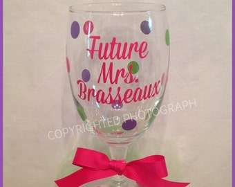 Personalized FUTURE MRS. Glass GOBLET with Bride's Future Married Name Polka Dots Bride Bachelorette Wedding Gift