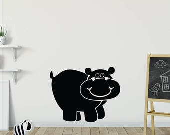 Jungle animal wall decals, Wall decals for kids, Hippo wall decal sticker, Playroom wall decals, Vinyl wall decal, Hippo wall sticker DB110