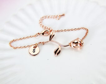 Rose Gold Rose Bracelet, Rose Bracelet, Rose Gold Rose Charm, Rose Flower Charm, Girlfriend Gift, Mother's Day Gift, Garden Gifts