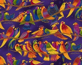 Wild Ones Flannel by Laurel Burch Clothworks Cotton Fabric Y2330-28 Dark Purple Birds Free shipping U.S.