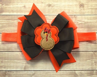 Thanksgiving Headband, Thanksgiving Hair Bow, Turkey Headband, Turkey Hair Bow, Fall Hair Bow, Thanksgiving Hair Clip, Baby Bow, Hair Bows