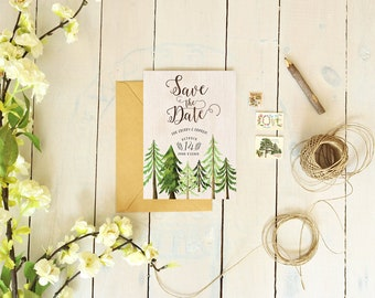 Rustic Save the Date Cards, Woodsy Trees Wedding Save the Dates, Country Wedding Save the Dates, Printable Save the Dates, Digital DIY