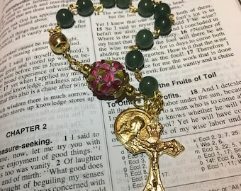 Gold French Joan of Arc Green Jade and Floral Lampwork Rosary Bracelet